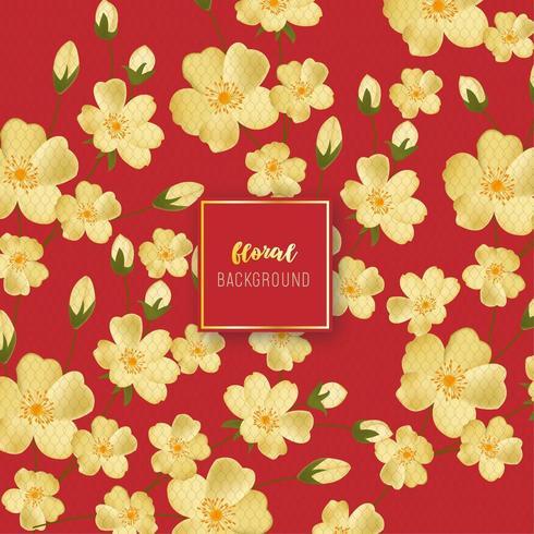 Vintage gouden bloemen achtergrondontwerp