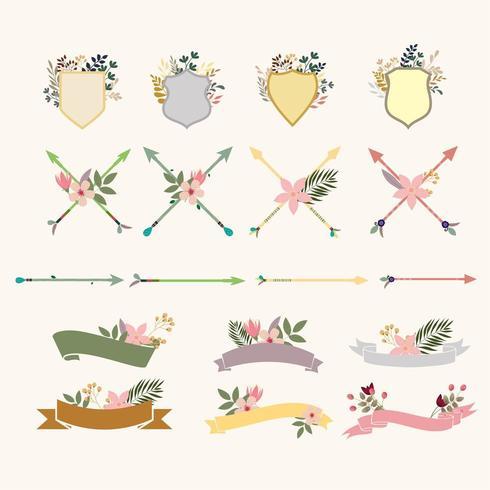 Collection d'objets de bouquet floral