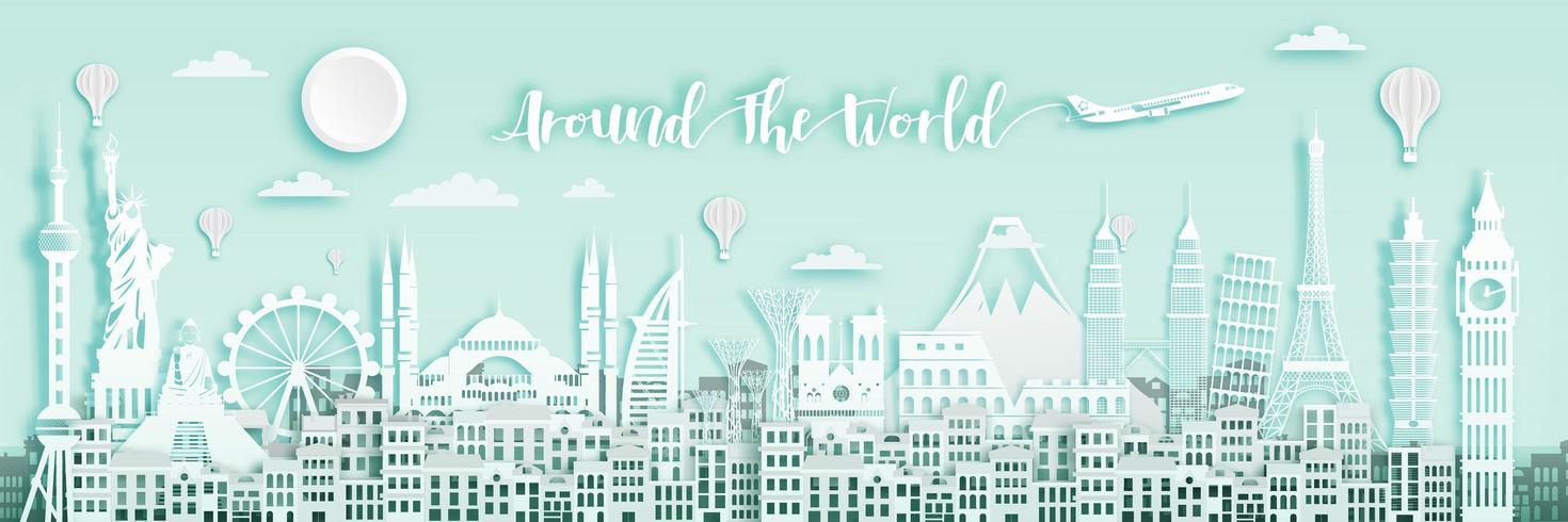 White Around The World Banner vektor