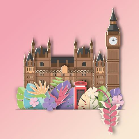 London with Tropical leaf  Summer Banner vector
