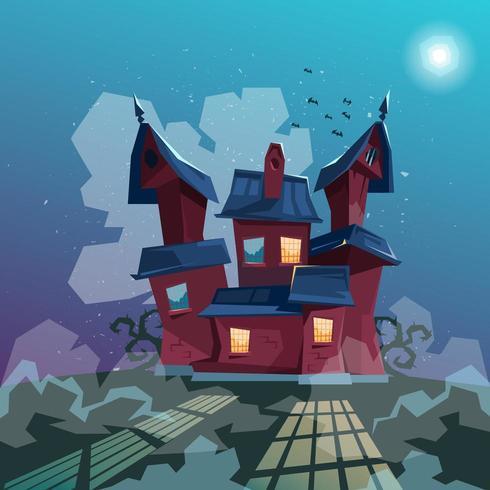 Ilustración de la casa de Halloween