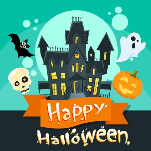 Halloween-huis met geest, vleermuis, pompoengezicht en schedel