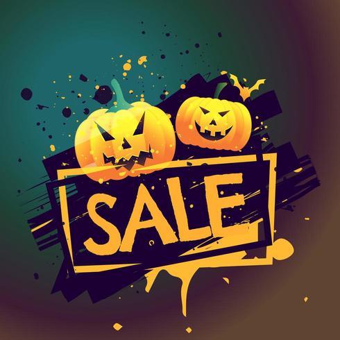cartel de venta estacional de halloween con calabazas