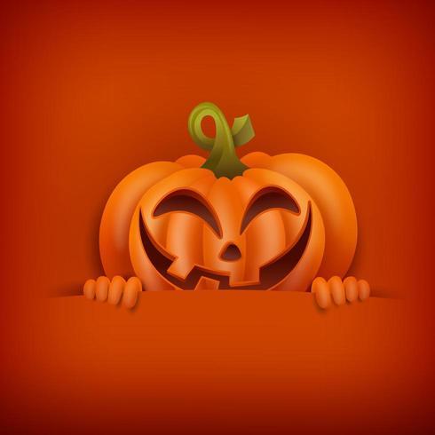 Carte d'Halloween à la citrouille souriante