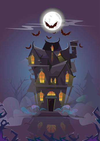 Halloween-Haus nachts mit den Hieben, die herum fliegen
