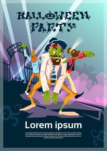Zombie-Hipster-Gruppen-Halloween-Party-Karte