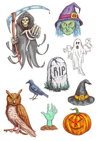 Elementi di schizzo della parte dell'invito della parte di Halloween