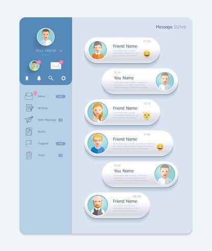 Interface de chat Messenger avec des fenêtres de dialogue