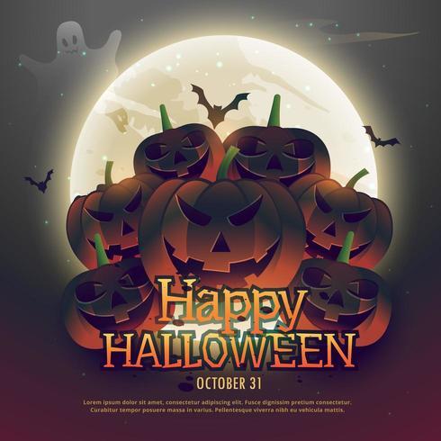calabazas de halloween de miedo delante de la luna