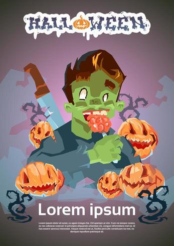 Halloween-grafik med zombiemannen som äter hjärnan