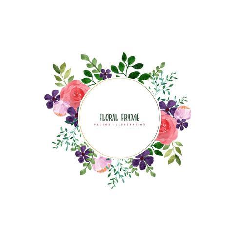 Watercolor floral frame design vector