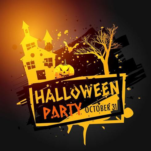 Halloween-Feierbild mit Spukhaus, Baum und Kürbis
