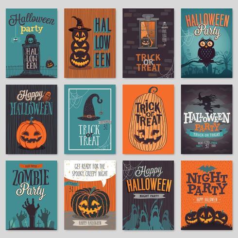 Invitación de Halloween dibujado a mano o conjunto de tarjetas de felicitación.