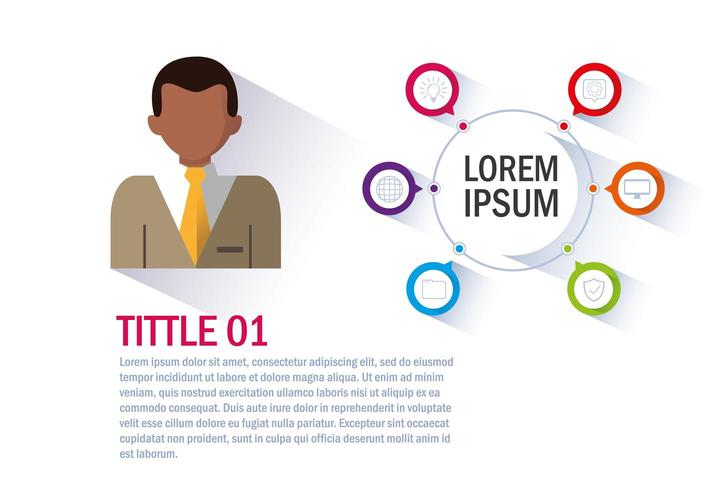 businessman with infographic  vector