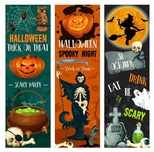 Halloween party night banner with spooky characters