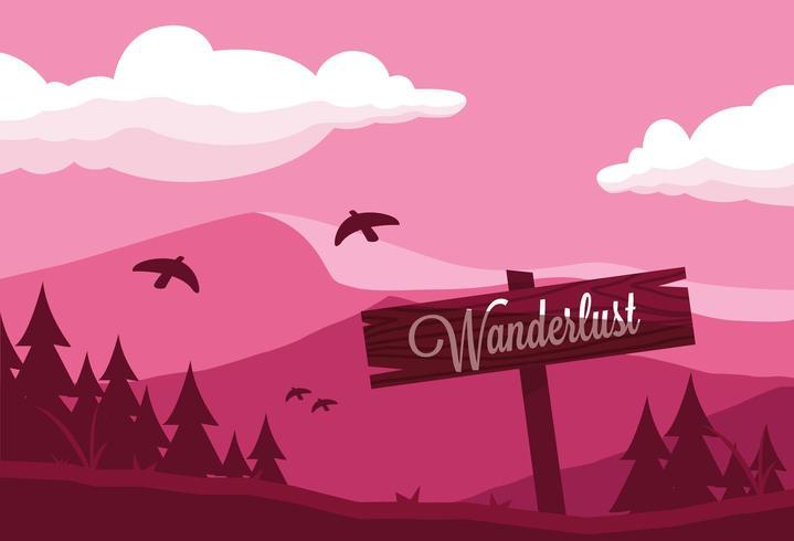 signe Wanderlust sur remorque de montagne