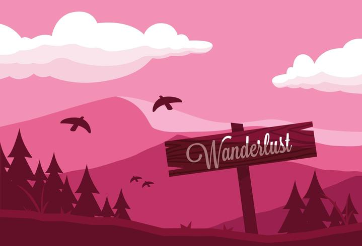 wanderlust sign on mountain trailer