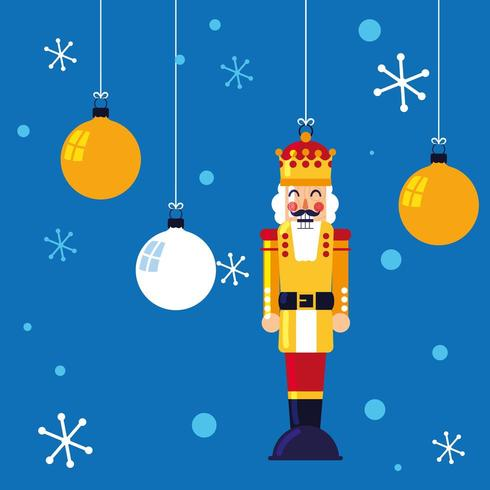 nutcracker king toy hanging with balls of christmas vector