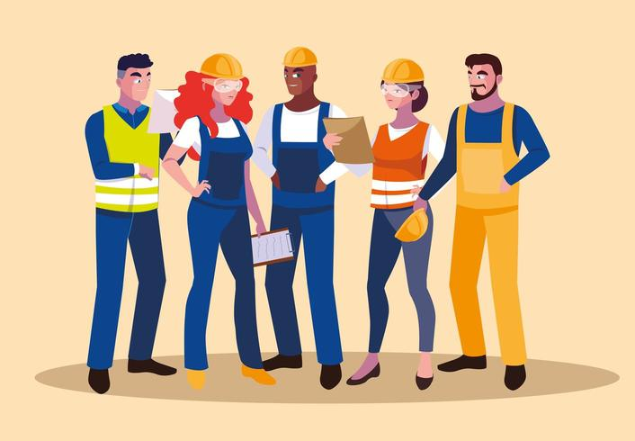 set of professional workers vector