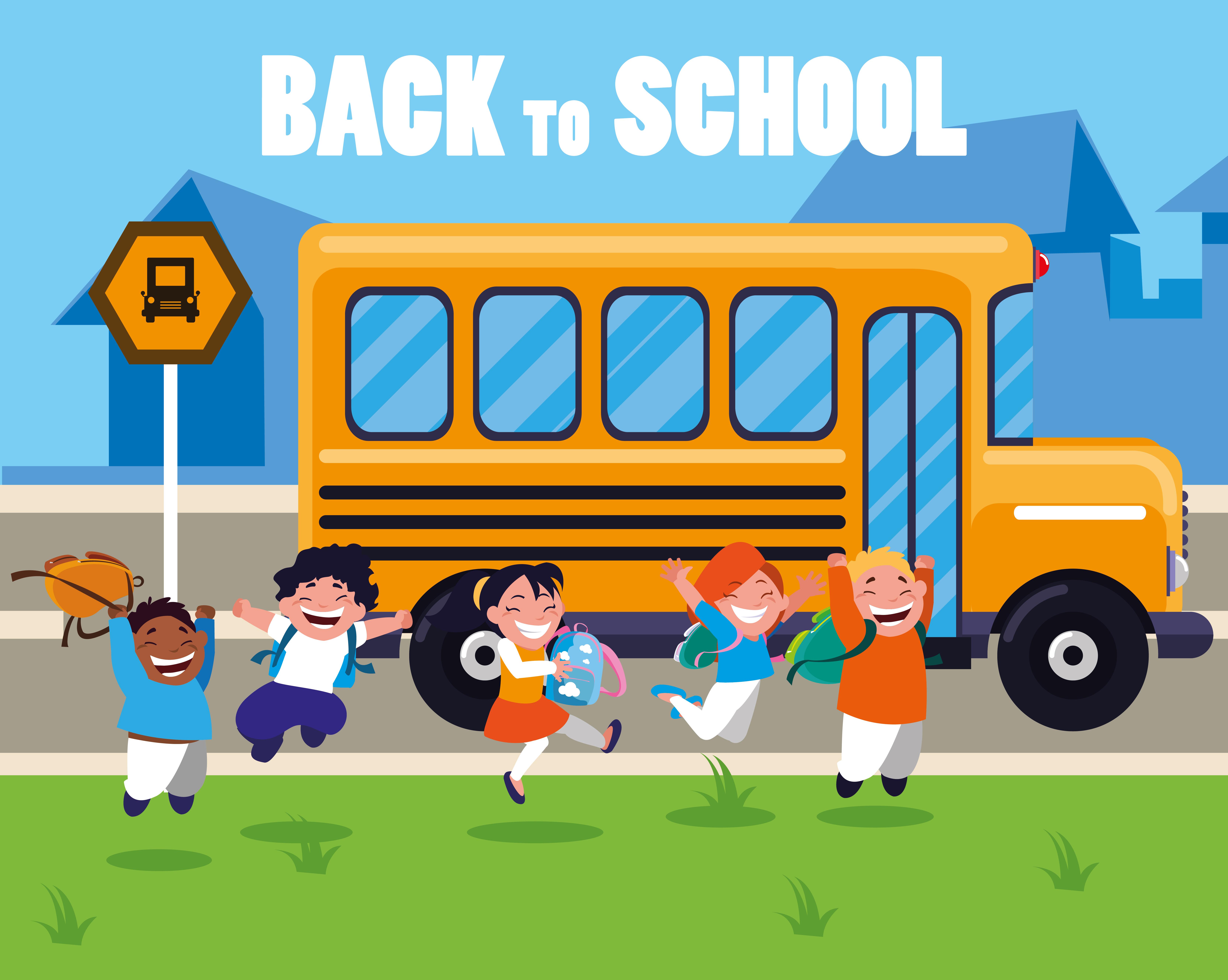 Happy Students At The School Bus Stop Download Free Vectors