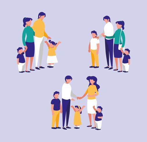 Set van gezinsleden praten