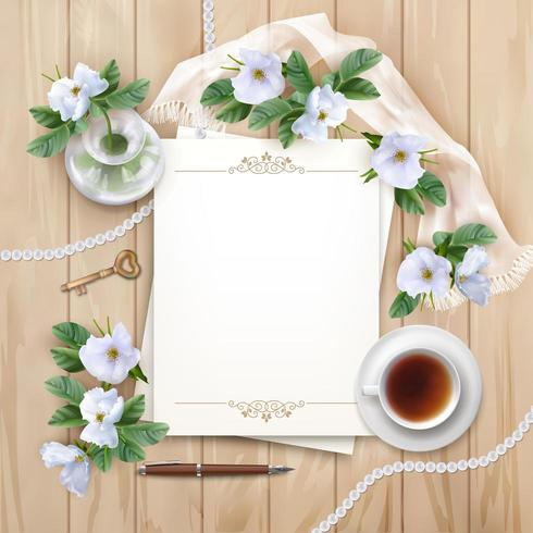 Vista superior fondo de madera con papel, bolígrafo y flores blancas