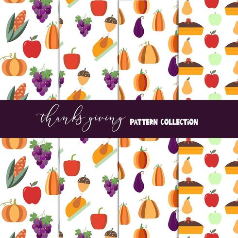 Thanksgiving pattern collection vector