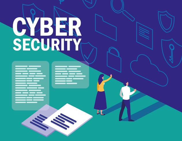 cyber security web page  vector