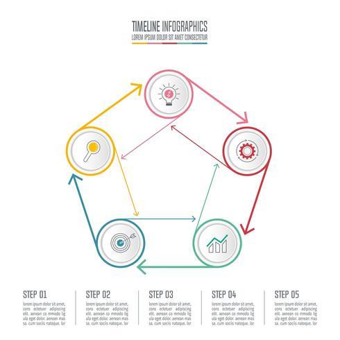 infographic design affärsidé med 5 alternativ.