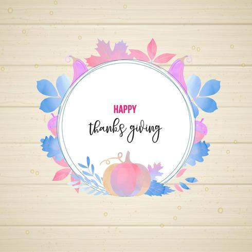 Watercolor Style Thanksgiving frame design vector