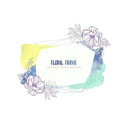 Geometrische aquarel bloemen frame