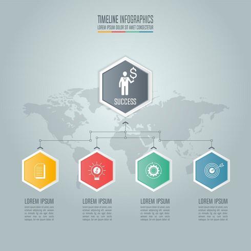 Concepto de negocio de infografía con 4 opciones.