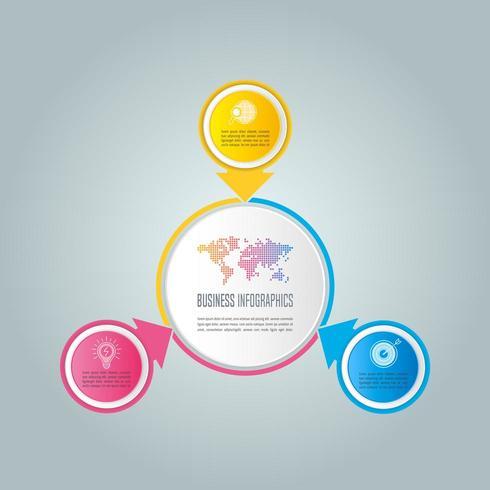 infographic design affärsidé med 3 alternativ, delar eller processer.