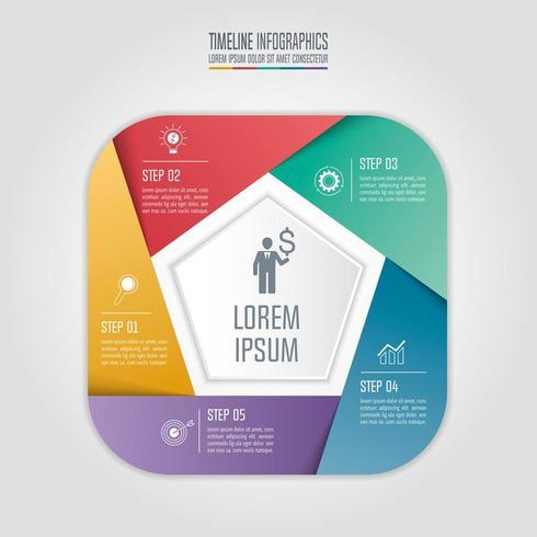 Concepto de negocio de infografía con 5 opciones.