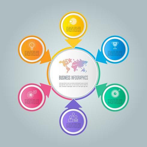 Concepto de negocio de diseño infográfico con 6 opciones, piezas o procesos. vector