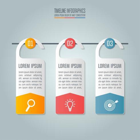 Affärsidé med 3 alternativ, steg eller processer.