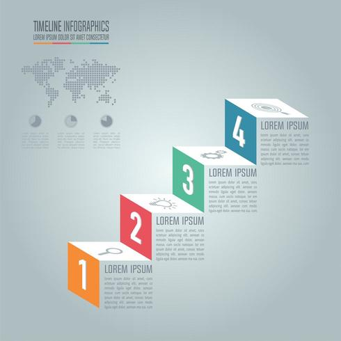 Tijdlijn infographic ontwerp vector en marketing pictogrammen voor presentatie.