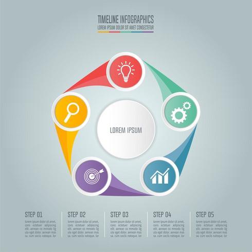 Concept d'entreprise avec 5 options, étapes ou processus.