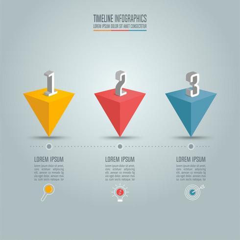 Concepto de negocio de línea de tiempo con 3 opciones.
