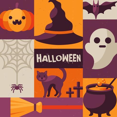 Poster creativo con oggetti e personaggi di Halloween