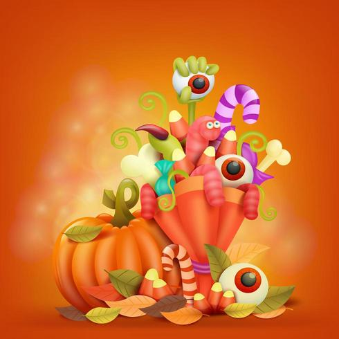 Feliz tarjeta de concepto de Halloween con calabaza y bouquet
