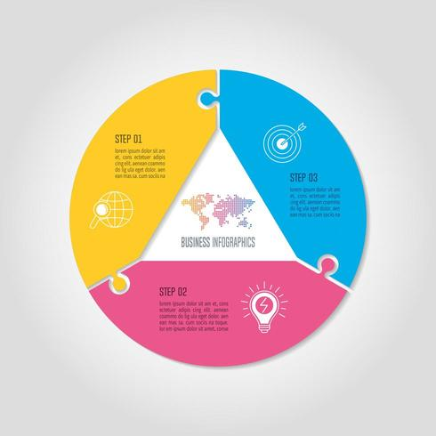 infographic design business concept with 3 options, parts or processes.