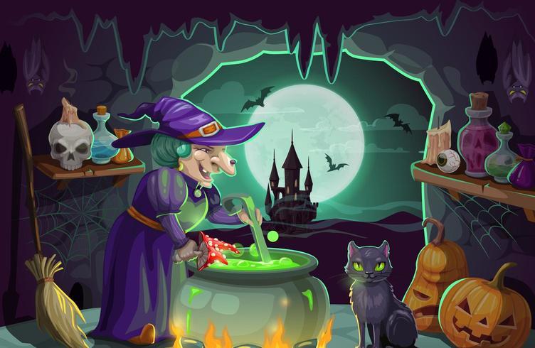 Halloween-heks met drankje en ketel