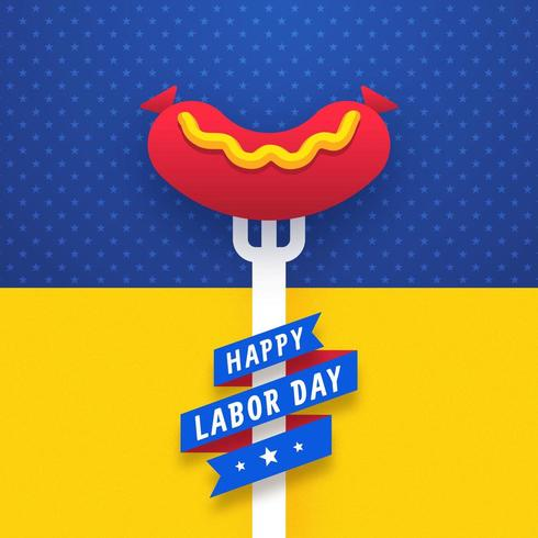 Labor Day Celebration Sausage On Barbecue Fork vector