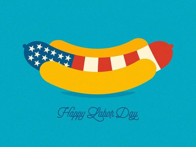 USA Hot Dog Labor Day wenskaart