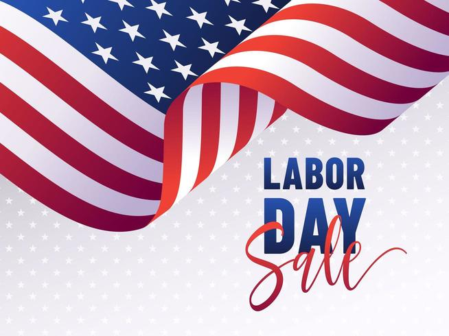 Plantilla de banner de venta del día del trabajo de la bandera de Estados Unidos