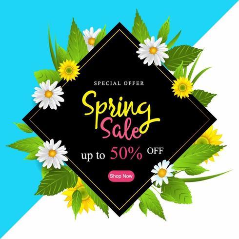 Lente verkoop poster met bloemen en bladeren