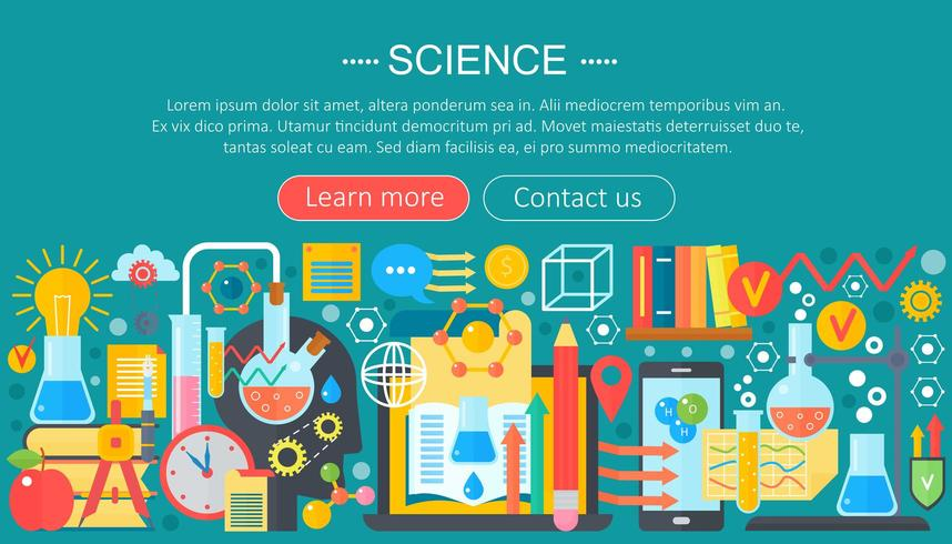 Insegna orizzontale con il posto di lavoro del laboratorio dello scienziato