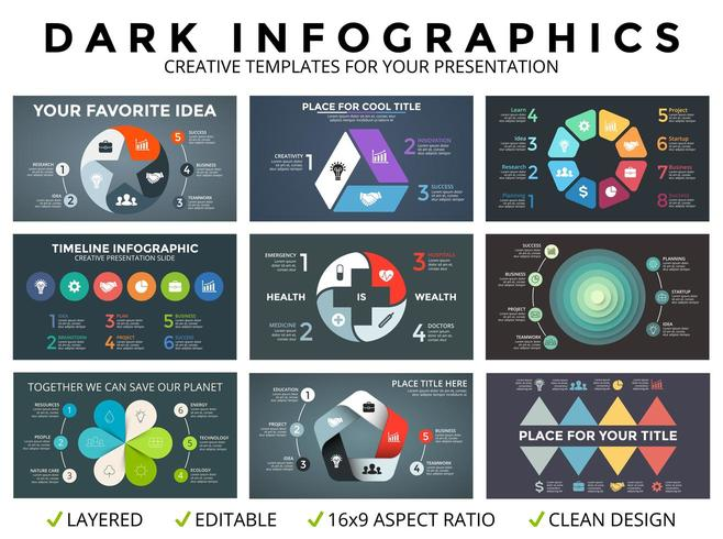 Vecteur cercle flèches infographique, diagramme de cycle, graphique, modèle de graphique de présentation. Concept d'entreprise avec 3, 4, 5, 6, 7, 8 options, pièces, étapes, processus. Fond sombre.