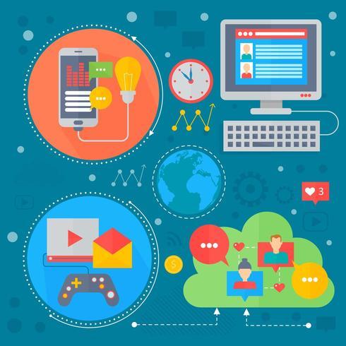 Flaches Konzeptdesign des Sozialen Netzes und des Social Media